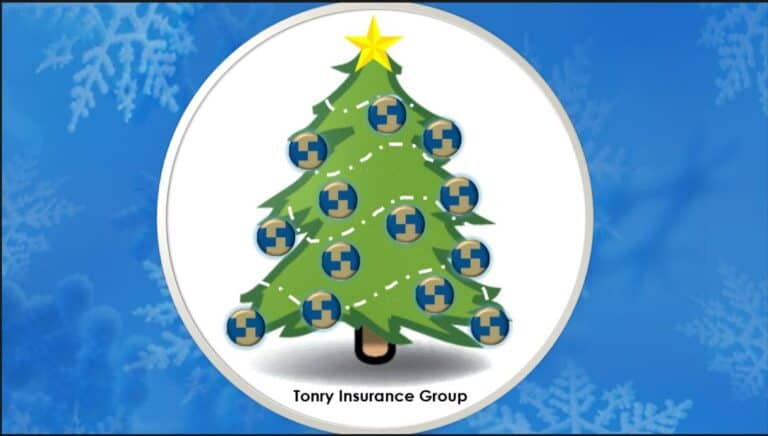 Picture of Tonry Insurance Group Holiday Tree with tonry logo ornaments and a star at the top